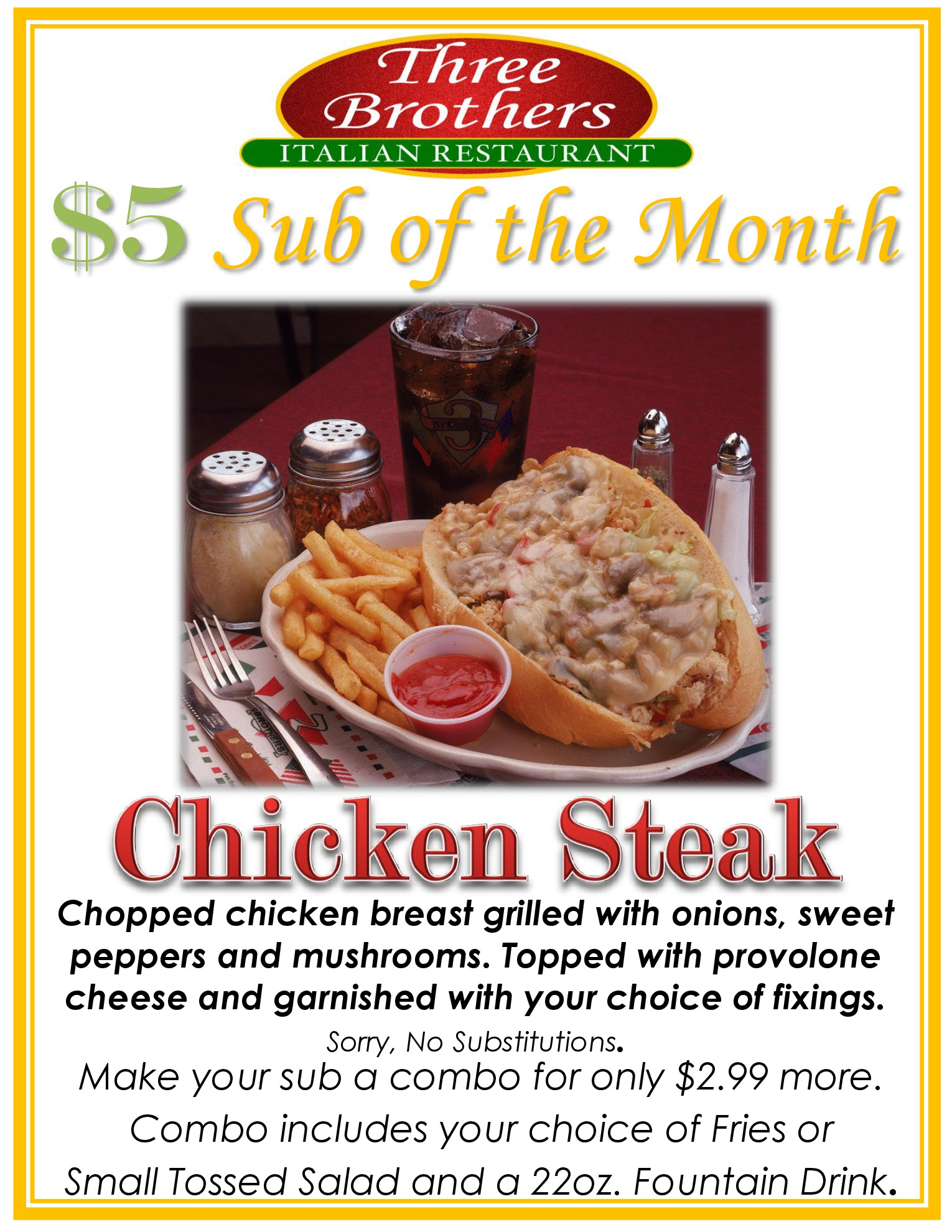 Chicken Steak Sub November
